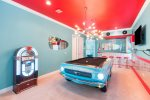 1967 Mustang slate pool table with working lights located on the second floor loft area