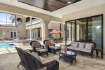 Step out the sliding glass doors to your outdoor oasis