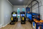 There`s plenty to choose from in this game room with PS4, XBox One, Foosball, air hockey, and arcade games