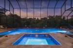 The covered pool is perfect for spending days and evenings by the pool