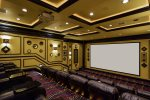 Private home theater with 200 inch projection screen.