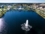 Aerial view of lake and fountain