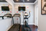 The fitness room has all you need for you not to change your workout routine