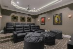 Host a movie night with leather recliners to seat 9
