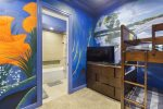 The walls of this room are painted to take you into a fantasy world