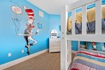 This second floor bedroom features a theme the kids will love