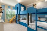 Custom built bunk beds featuring comfortable full and twin beds to sleep up to 6 guests