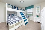 The kids will love coming back to this custom built bunk bed