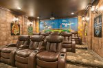 Enjoy your popcorn and movie in the leather recliner sofas seating for 12