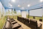 10 comfortable recliners in this private home theater
