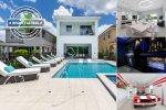 Modern Oasis | Sunny West Facing Pool with Splash Pad, Car Pool Table, Movie Room, Arcades and Custom Kids Bedroom