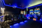 The whole family will love the fun movie theater and game room