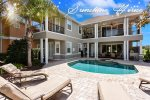 Private pool and spillover spa with beautiful golf course view and luxury patio furniture