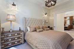 Stylish downstairs bedroom with King size bed located on the ground floor