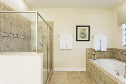 Spacious master bathroom with walk in shower and tub