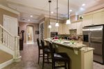 Beautiful Kitchen with 3 Leather Bar Seats