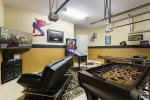 Super Hero Game Room With Foosball Table & Pinball Machine & shuffle Board