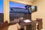 Take a break and relax by the fire pit on the patio