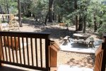 Woodsy Backyard with seating and Horseshoes