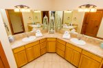 large double vanity sinks and mirrors, plenty of space for a couple people.