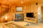 Wood burning fireplace. 50 flat screen TV with smart DVD player and local channels. no cable