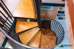 Fun spiral staircase that guides you to a upstairs loft.