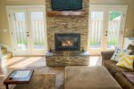Kick back in front of the gas fireplace.