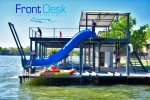 958 sq ft. Two Story Boat Dock with Partially Covered Upper Deck, Tunnel Waterslide, Rope Swing