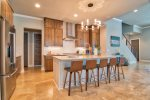 Fully equipped modern kitchen, island seats 5