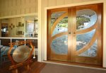 Custom etching on glass entry doors