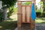 Enjoy rinsing off the sand in the outdoor shower.