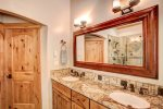 Master bathroom vanity with two sinks