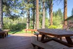 Morning shade on the deck with view to the Plumas Pines Golf Resort
