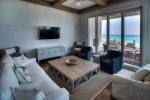 Seagrove Beach - Living area with comfy couch and flat screen TV