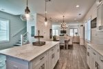 Large Kitchen featuring Marble Counter-tops