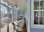The screened porch is great for enjoying the evenings while grilling.