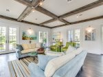 Wood beams throughout the living areas