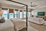 Private 3rd Floor Master suite with King size bed, living area with TV overlooking the Gulf of Mexico