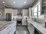 Stainless steel appliances with plenty of counter space