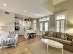 The main open concept living space in the carriage house on this property.