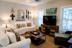 Seacrest Beach - Living room with flat screen TV and beautiful beach theme