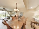 Plenty of seating at the dining table for meals or family game time