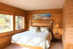 Spacious upstairs bedroom with views of Gull Lake and Carson Peak upstairs
