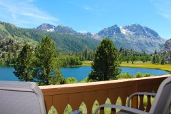 Spectacular lakefront and the High Sierra Mountains views at June Lake Interlaken.