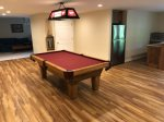 Pool table in lower level rec room