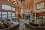Grandview Pointe Great Room with Stunning Stone Fireplace