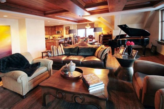 Spacious Living Room with Firepalce, Flat Screen TV, and View of the Ski Mountain