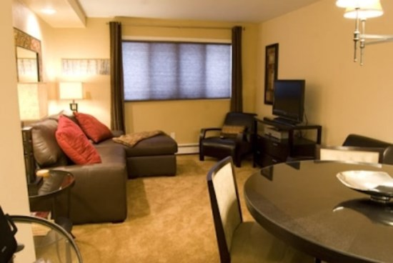 Spacious Living Room with Fireplace, Flat Screen TV and Sofa Sleeper.