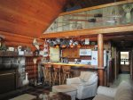 Soft Italian Leather Furniture for Curling Up by a Fire in the Fieldstone Fireplace