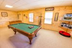 Basement Level Game Room Features - Pool Table, Foosball Table, & Poker Table